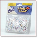 7701 - Accessories : Alphabet 7 mm Round Beads colored/white